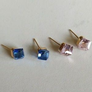 2 pair PINK & BLUE CRYSTAL GLASS  earrings